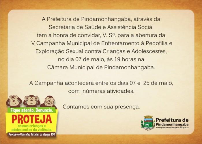 convite_V Campanha de Enfrentamento à Pedofilia e Exploração Sexual contra Crianças e Adolescentes_
